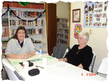 Library Board members Betty Bower and Peggy Peal